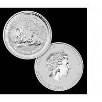 Perth Mint Lunar Rabbit Silver 1 OZ 2011 Encapsulated