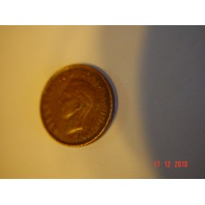 Canadian 1 cent (penny) coin circulated 1947 98% copper 3.24 g 19.05 mm ( 3⁄4 inch), round 98% copper