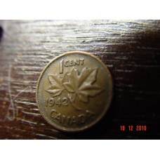 Canada 1 cent -penny- coin  1942   Circulated 3.24 g 19.05 mm (3⁄4 inch), round 98% copper