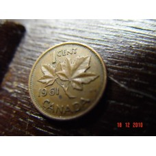 Canada 1 cent -penny- coin 1961    Circulated 3.24 g 19.05 mm (3⁄4 inch), round 98% copper