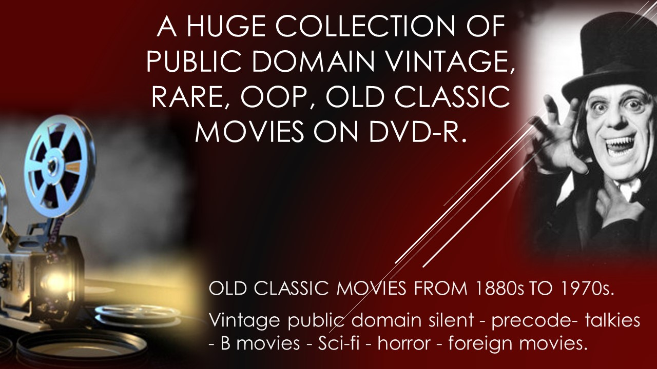 rare oop vintage B&W classic public domain movies on dvd by